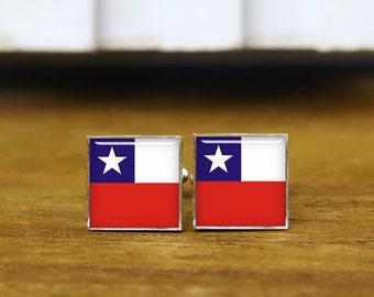 flag of chile cufflinks, chilean flag, custom national flag cufflinks, patriot cufflink, round, square cufflinks, tie clip or a matching set