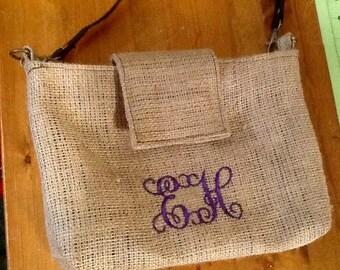 Monogram /Initial Burlap Crossbody Bag/Purse