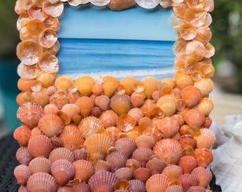 Orange Ombre sea shell frame