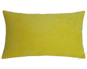 Yellow Velvet Decorative Throw Pillow Cover / Pillow Case / Cushion Cover / 12x18""
