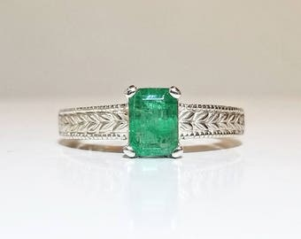 1 ct Emerald Ring in Sterling Silver / Natural Emerald Cut Vintage Style Filigree May Birthstone Ring / De Luna Gems / Free Shipping!
