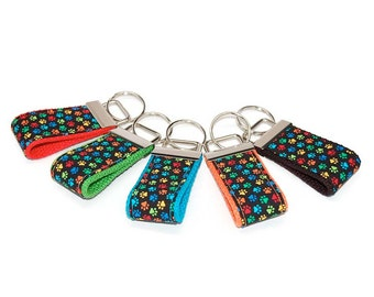 Mini Cute Paw Print Keychain - You pick color - Animal Keyfob - Preppy Fabric and Webbing Key Ring Great Under 10 Graduate Teen Driver Gift