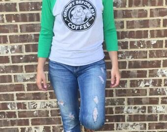 Free Shipping! Grumpy before Coffee Raglan/ Character Shirt/ Coffee Shirt/ Mouse Shirts/ Seven Dwarfs Shirt/ Vacation Tee