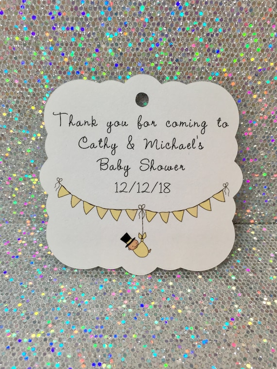 Personalized Baby Shower Tags, Baby Shower Favors, Custom Name Tags, Thank  You Tags, Set Of 12, Baby Favor Tags, Gender Neutral Baby From ...