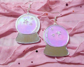 Multi-color CRYSTAL BALL Earrings With Holographic, Silver and Glitter Acrylic -- Plastic Earrings with Silver Earring Hooks // Ear Wire