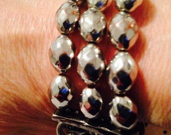 silver jewelry. silver bracelet. bead bracelet. chain bracelet. 3 strand bracelet. Multistrand silver bracelet. multichain bracelet.TBFB0300