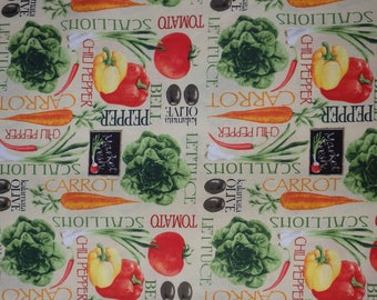 Produce Fabric, Fresh Produce, Vegetable Fabric, Art Makers International Quilting Cotton, Woven Cotton, By the Half Yard