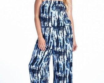 Women's Plus Size Strapless Jumpsuit, Jumpsuit Romper, Mothers Day Gift, Summer Jumpsuit, Linen Jumpsuit, 70s Jumpsuit, Wide Leg Jumpsuit