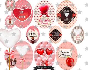 digital images * heart * pink Love Love candy lollipop vintage collage digital scrapbooking cabochon jewel