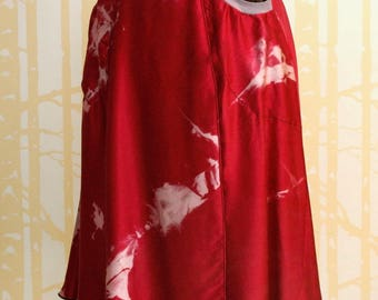 Pocketed Skirt, size SMALL, in hand dyed berry red silk and hand printed grey bamboo, ONE of a KIND
