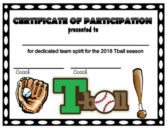 tball certificate  Item009 2018 Green/Maroon/Red Tball Sports Certificate
