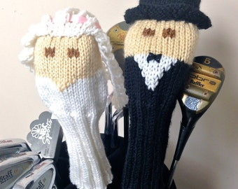 Wedding, Bride, Groom, golf head covers, golf club covers, golf club headcovers, club head covers, golf stuff, mr and mrs, wedding gift idea