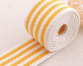 "Webbing Totes Belts Orange White Striped  Ribbon White Edge Bag Purse Straps Tape Bag Handle 1 1/2""(38mm)(WB0310)"