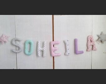 Prénom guirlande  *SOHEILA*lettres en tissus