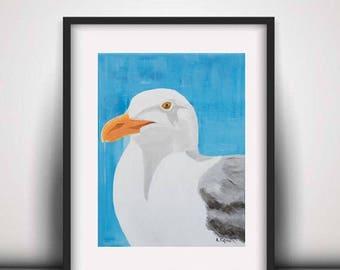 Canvas print of original painting, Animal painting, Animal prints, Seagull painting, Seagull Print, Bird Prints, Wall Art, Acrylic print