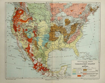 American geology map Etsy