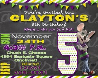 E Cheese Birthday Invitation