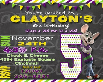 E cheese birthday invitation chuck e cheese birthday invitation filmwisefo Images