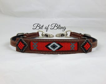 Navajo Beaded Leather Wither Strap Red Horse Tack Rodeo Barrel Racing Pole Bending Trail Riding Western Equine