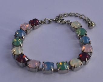Opal Pastel Swarovski Crystals 8mm bracelet 15 stones silver plated setting