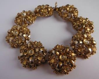 Filigree Link Bracelet, Cannetille Bracelet, Gold Tone Filigree, Mid Century
