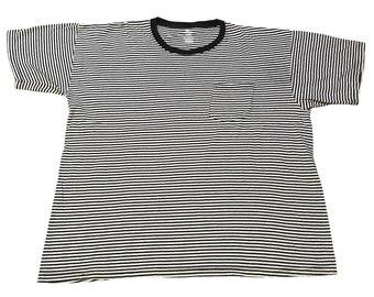 Black and White Striped Pocket T-Shirt