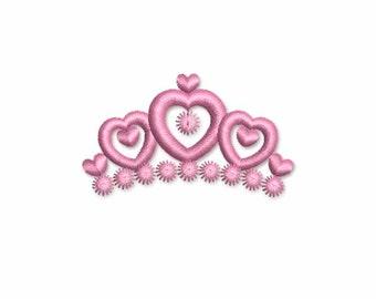Heart Tiara Mini Embroidery Design M22