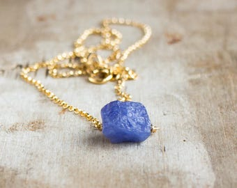 Tiny Tanzanite Necklace, Gift for Her, Raw Crystal Necklace, Gift for Wife, Gemstone Jewelry, Dainty Necklace, December Birthstone Necklace