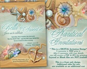 Nautical Theme Party Invitation, Beach Theme Shower, Nautical Birthday