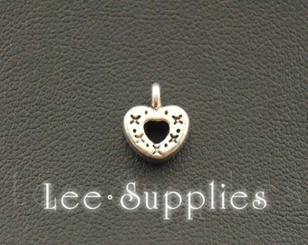 50pcs Antique Silver Alloy Mini Love Heart Charms Pendant A1078