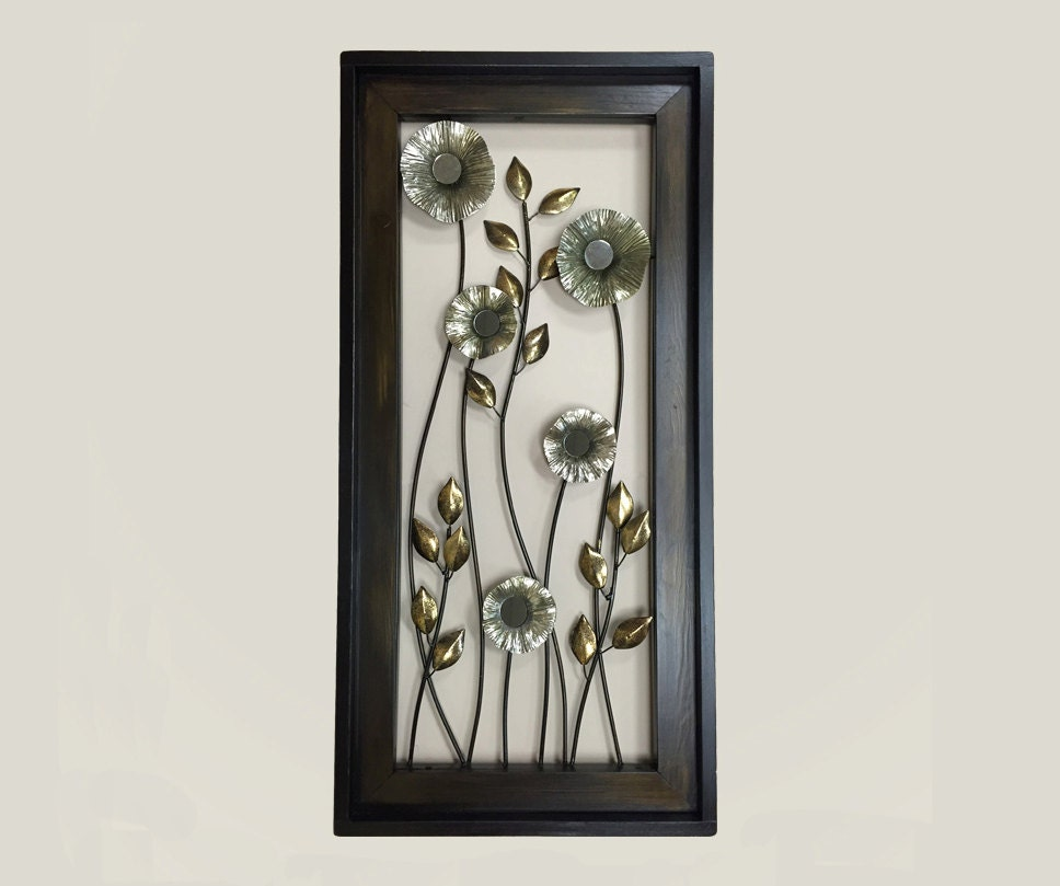 metal wall art wood framed flowers mirrors home decor. Black Bedroom Furniture Sets. Home Design Ideas