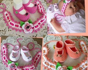 CROCHET BABY PATTERN Baby Set Shoes and Headband Pattern - Ruby Baby Set - baptism shoes and headband crochet pdf patterns Instant Download