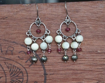 Antique Assemblage Earrings with Mother of Pearl, Pyrite and Rubies