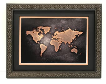 Large world map framed 9 pieces total water splash map framed world map world map art black sepia world map framed map of the world wall map framed in compass frame world map art poster gumiabroncs Image collections