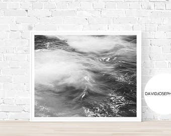 Sea Print, Ocean Print, Black and White, Fog Print, Sea Wall Art, Ocean Wall Art, Wave Print, Ocean Decor, Digital Download, Sea Decor