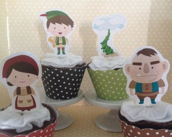 Jack and The Beanstalk Party Cupcake Topper Decorations - Set of 10