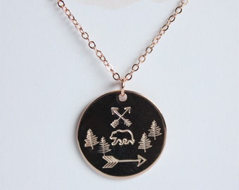 Rustic scene necklace, bear necklace, hand stamped jewelry, stamped disc necklace, arrow jewelry, outdoors, bear and woods