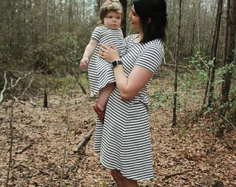 Womens T-Shirt Dress, high low hem, black and off white stripes