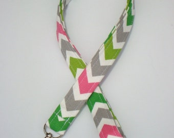 Lanyard ID Holder Key Chain Comes with ID Badge Cover - Chartreuse  Candy Pink Chevron  Zig Zag