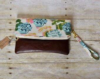 Floral fold over clutch - fold over clutch - fold over purse - floral purse - leather clutch - faux leather purse - floral wristlet