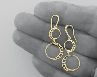 Unique Dangle Earring, Wheels Earring, Mobile Drop Earrings, Light Weight Gold Drops, Solid 14k Gold Dangles, For Her, Free shipping
