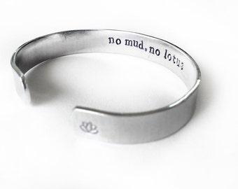 no mud no lotus bracelet, secret message bracelet, lotus flower, yoga jewelry, bohemian jewelry, boho chic - adjustable, handmade
