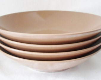 Vintage Set of Four Cereal or Soup Bowls Autumn Wheat Collection Melmac , 1960'S, Melamine, Brown, Cottage Chic, Camping, Picnic
