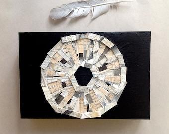 Crossword Collage-  6x9x1- Wood Block- Black, White, Cream- Circle- Abstract Mixed Media Art