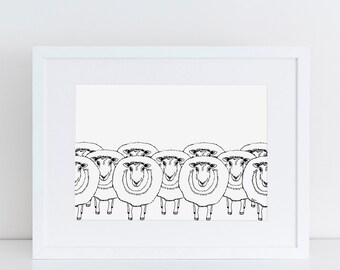 Art Print, Nursery Decor, Nursery Wall Art, Kids Room Decor, Sheep, Home Decor, BAA SHEEP
