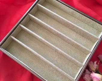 Supply Jewelry Tray. Bronze Textured Jewelry Box With 5 Long Sections for Bracelets and Necklaces. Tan Flocked Insides. Stackable Tray.