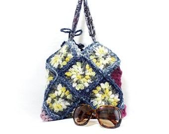 Crochet handbag, Squared, Multicolor bag, Crochet granny square bag, Gipsy, Crochet burgundy tote bag,