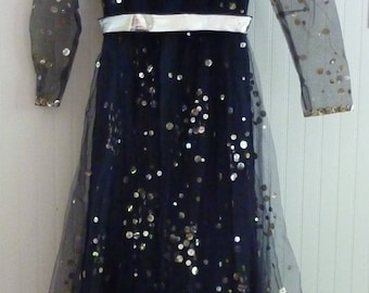Victoria Royal Ltd Size 8 Navy Blue Gown w/ silver Paillettes circa 1960s