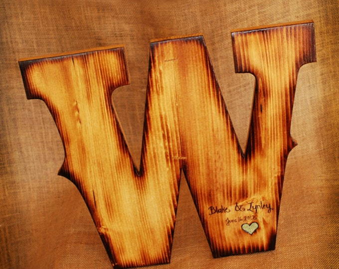 Extra Large Wooden Guest Book Letter with Twig Style Pen - Any letter available- rustic, woodland, personalized wedding