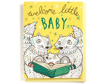 Baby Shower Card: Raccoon family reading, Welcome Little Baby, illustrated and hand-lettered in coral, green and yellow